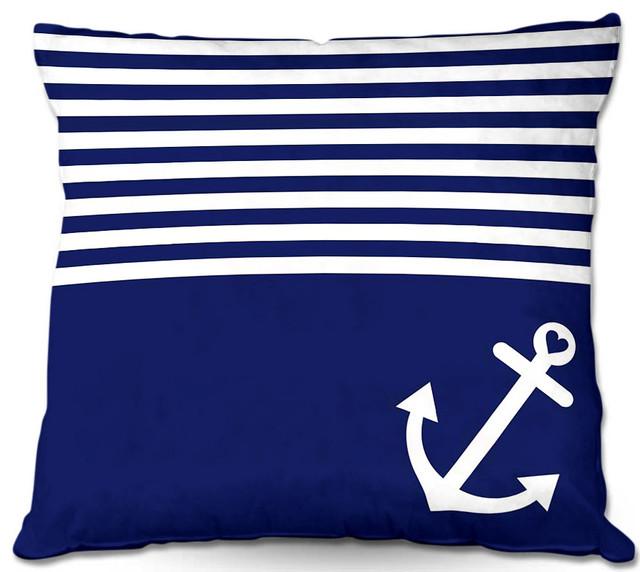 DiaNoche Outdoor Pillows Navy Blue Love Anchor Nautical