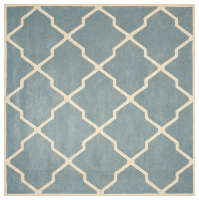 Contemporary Chatham Square 5 39 Square Blue Ivory Area Rug