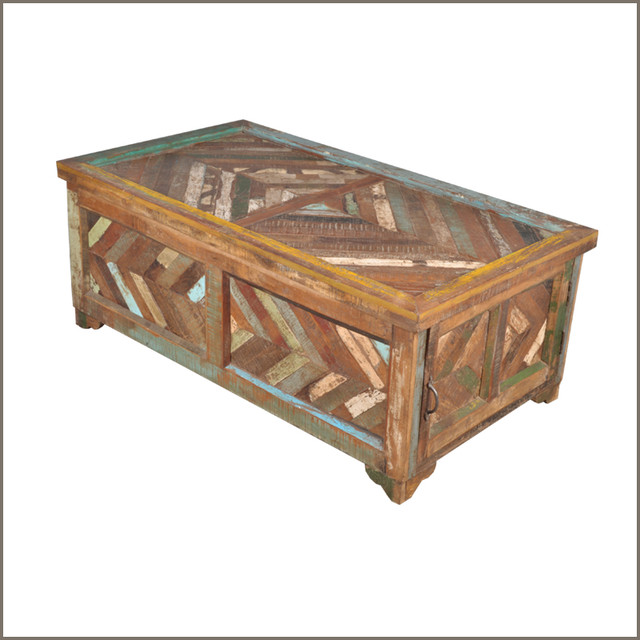 Santa Fe Parquet Tropical Hardwood Coffee Table Storage