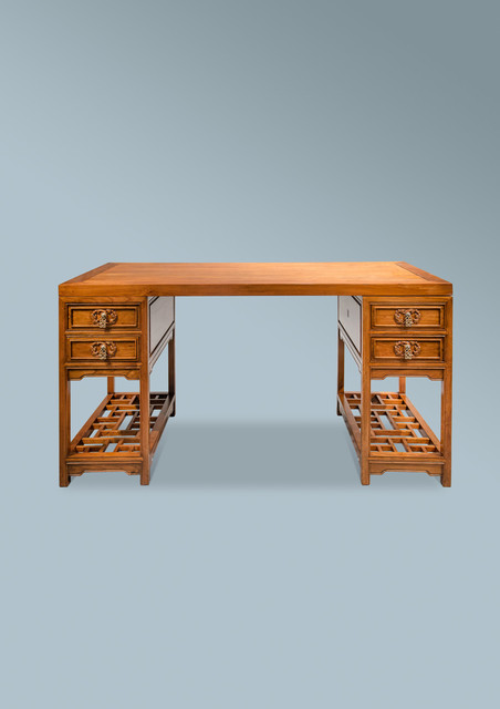 Long schreibtisch asiatique meuble bureau et for Bureau style asiatique