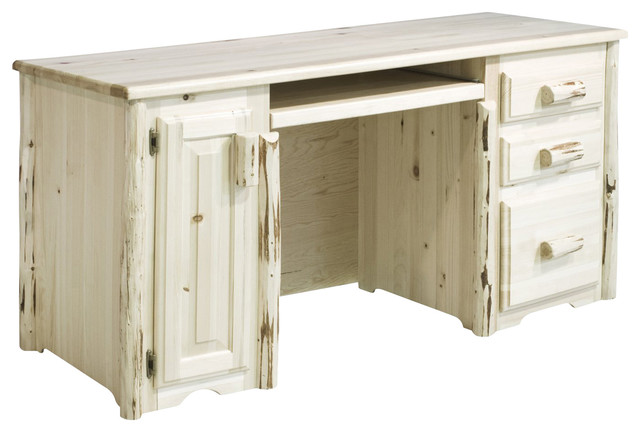 Montana Woodworks 3-Drawers Computer Desk with Tower Slideout in Ready to Finish - Rustic ...