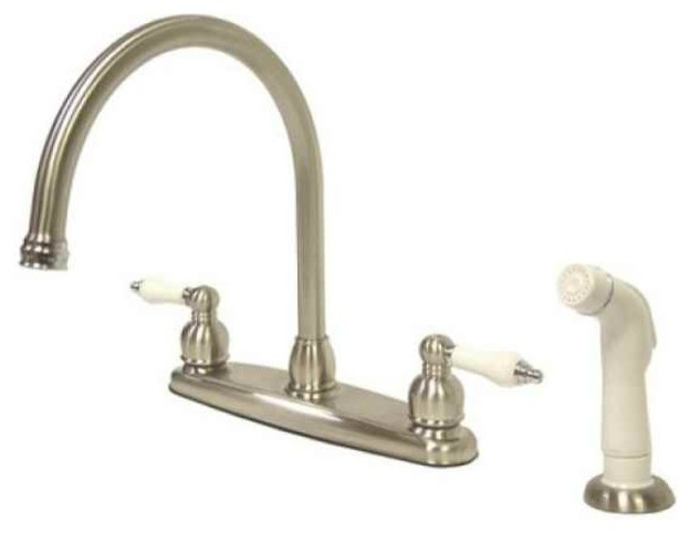 Classic Double Handle Kitchen Faucet with White Sprayer