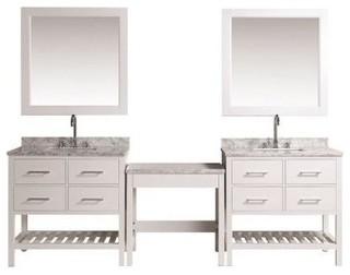 Design Element London DEC077A-WX2_MUT-W 2 Single Sink Vanity Set, Make ...