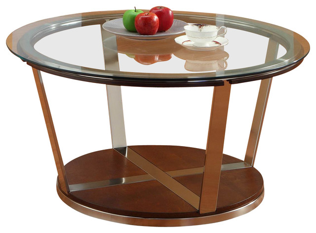 Homelegance Dunham Round Glass Cocktail Table With Metal Legs Traditional Coffee Tables By