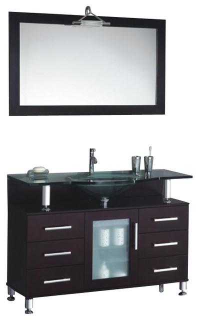 Modern Contemporary Bathroom Vanity w/ Clear Glass Sink, Espresso, 47 ...