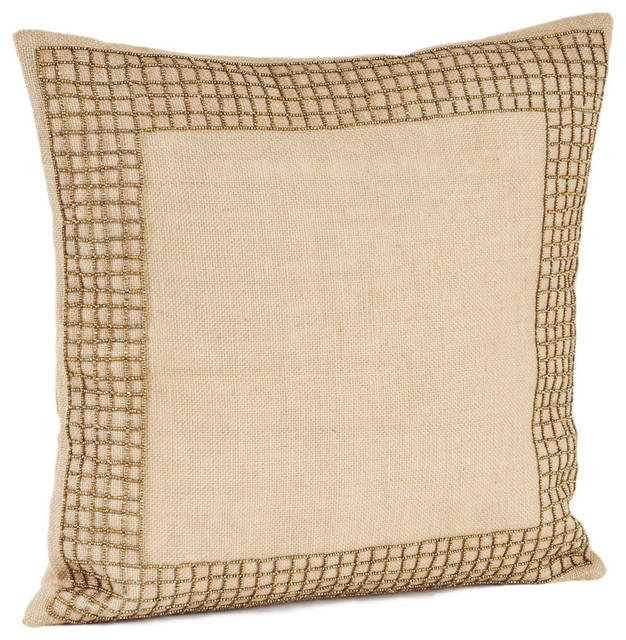 Beaded Design Burlap Down Filled Throw Pillow - Contemporary - Decorative Pillows - by Overstock.com