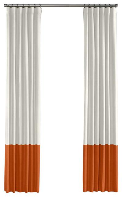 Ivory And Burnt Orange Linen Color Block Curtain Single
