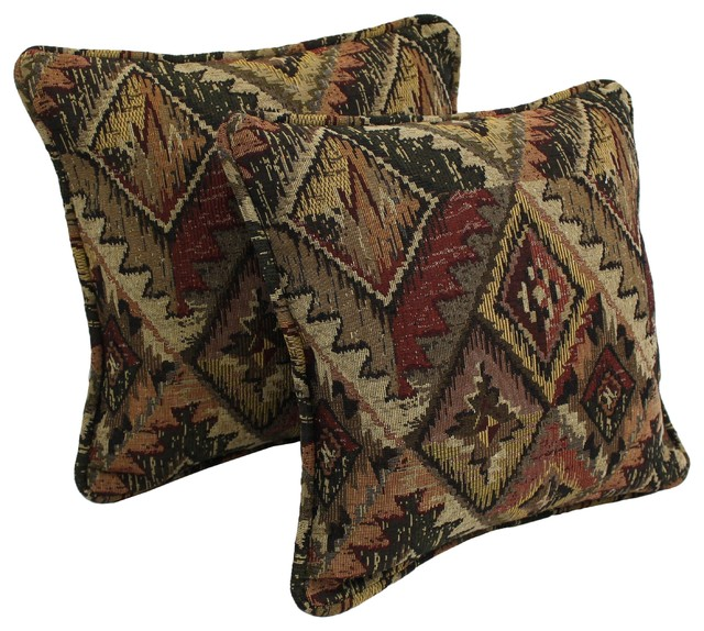 Decorative Western Throw Pillows : Blazing Needles Western Collection Corded Tapestry Removable Insert Pillow (Set - Contemporary ...