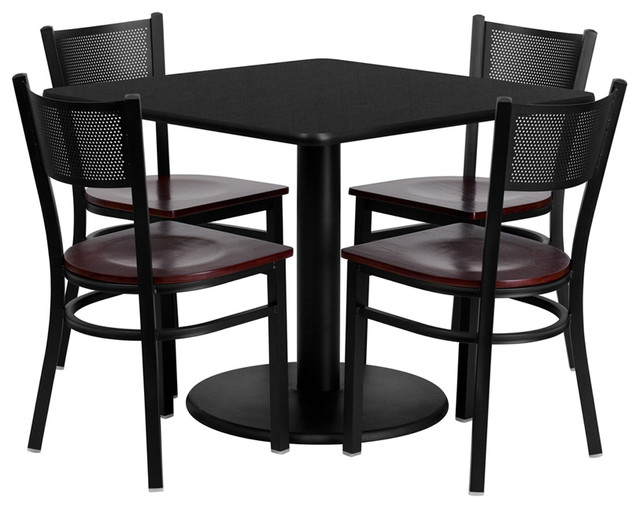 Flash Furniture 36 Inch Square Black Laminate Table Set