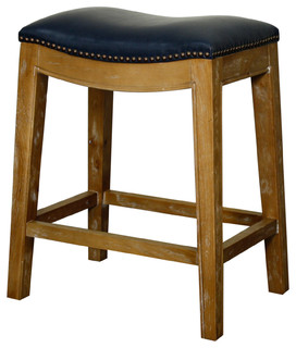 Elmo Bonded Leather Counter Stool With Weathered Smoke