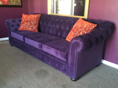 Purple sofa quotno wayquot or quotyes pleasequot for Sectional sofas yes or no