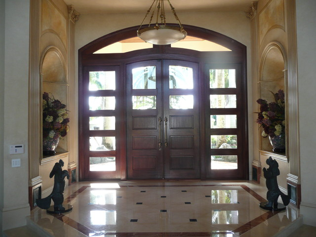 Custom Mahogany Entry Doors Sidelights And Transom Unit Traditional Front Doors By