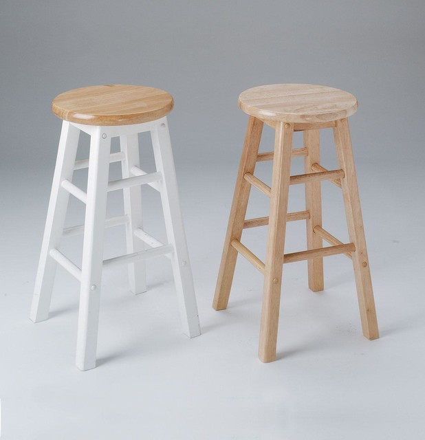 2 Metro Bar Stools In Natural And White