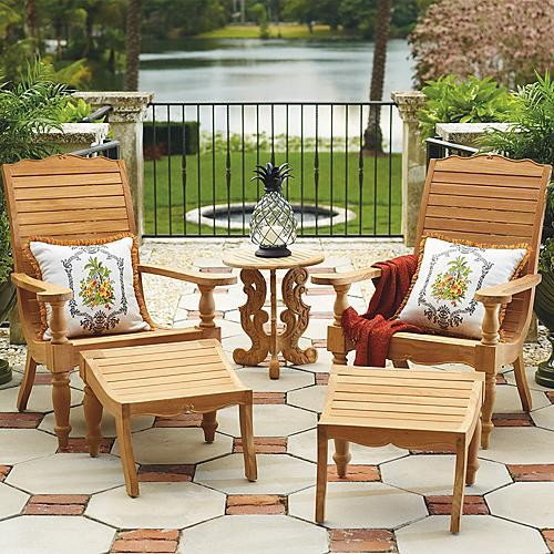 Colonial Brown Plantation Chair and Ottoman Patio Furniture Traditional