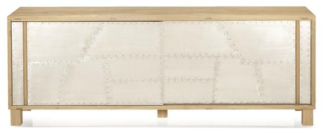 aviator buffet 2 portes coulissantes m tal et bois industriel buffet et bahut par alin a. Black Bedroom Furniture Sets. Home Design Ideas