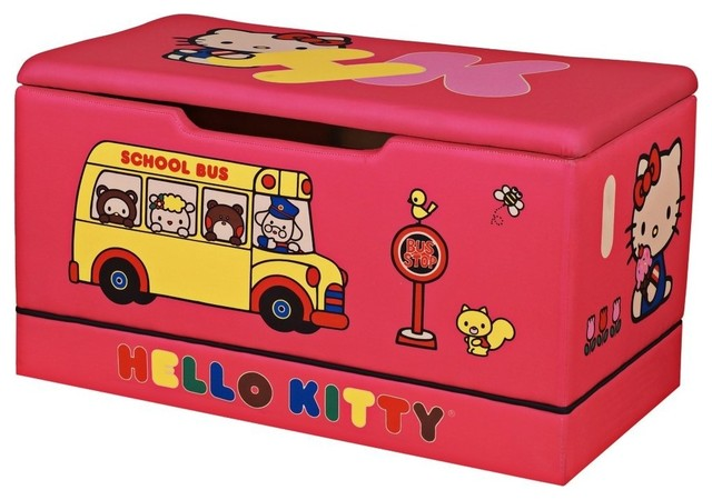 Hello Kitty Toy Chest : Upholstered hello kitty toy box contemporary kids