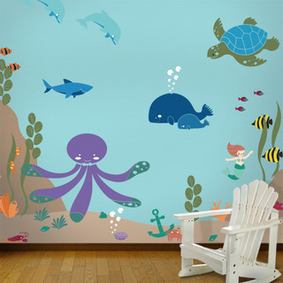 under the sea ocean wall mural stencil kit for painting. Black Bedroom Furniture Sets. Home Design Ideas