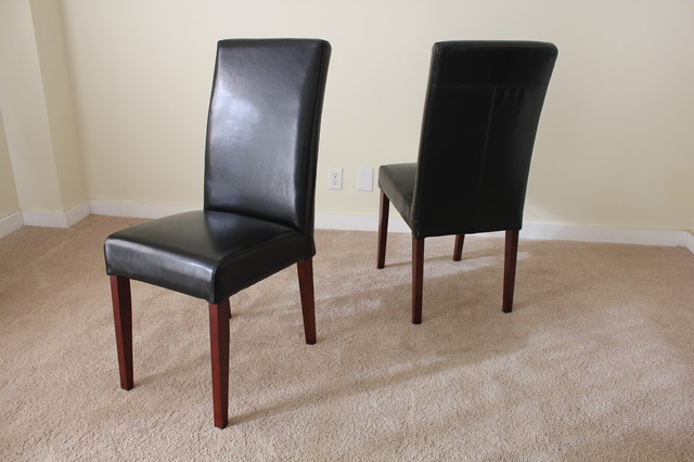 Black leather parsons dining chair contemporary dining for Leather parsons dining chair