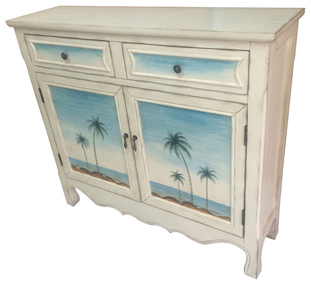 Seaside Coastal Scene Cupboard - Beach Style - Accent Chests And Cabinets - by Fratantoni Lifestyles