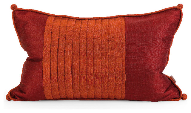 Red Silk Decorative Pillows : IK Nodia Thai Red Silk Throw Accent Pillow with Down Fill Home Decor - Contemporary - Decorative ...