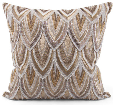Cortez Copper Gold Beaded Hand Embroidered Pillow - 22x22 - Beach Style - Decorative Pillows ...