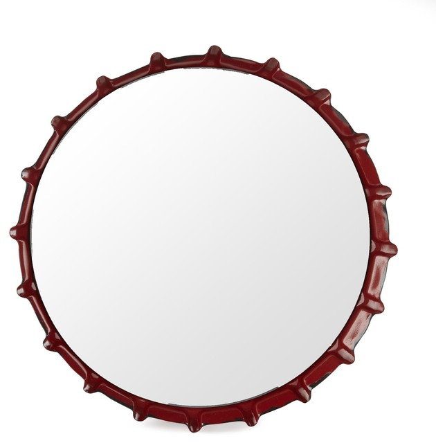 Capsule miroir en m tal d30cm rouge contemporary wall for Miroir rouge