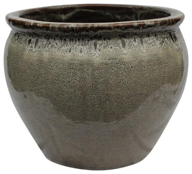 20 ceramic oriental fishbowl planter in bird egg brown for Gartenmobel asiatisch