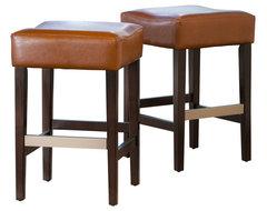Malachi Leather Backless Bar Stools Set Of 2 Hazelnut