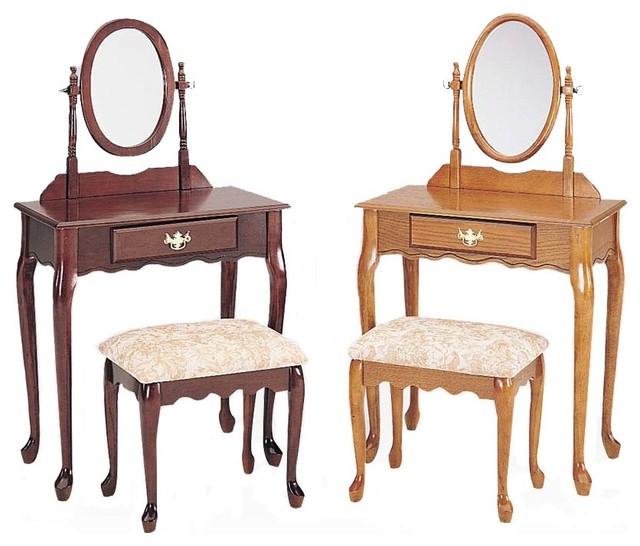 Queen anne 3 pc vanity set oval swivel mirror cream for Oval swivel bathroom mirror