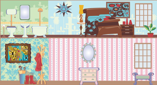 dolls house wallpaper bedroom - photo #21