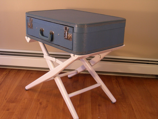 Suitcase table with drawer by destinations vintage for Diy suitcase table