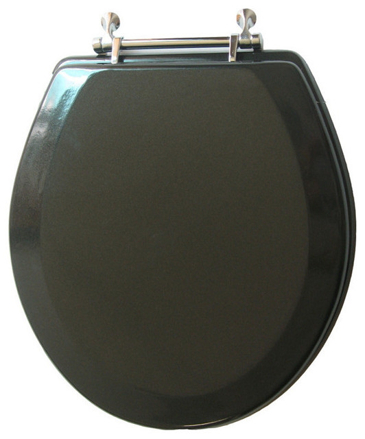 Trimmer Premium Metallic Black Wood Toilet Seat With Chrome Hinges Traditio