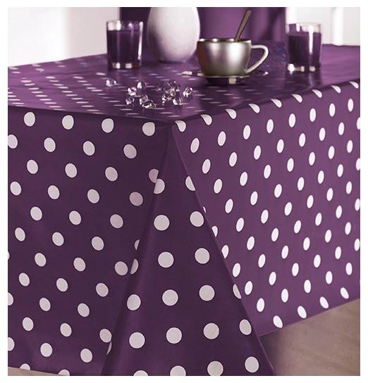 nappe toile cir e martin pois aubergine contemporain nappe autres p rim tres par. Black Bedroom Furniture Sets. Home Design Ideas