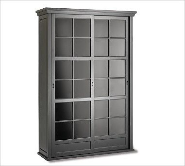Garrett Glass Cabinet, Black - Traditional - Storage Cabinets - by Pottery Barn