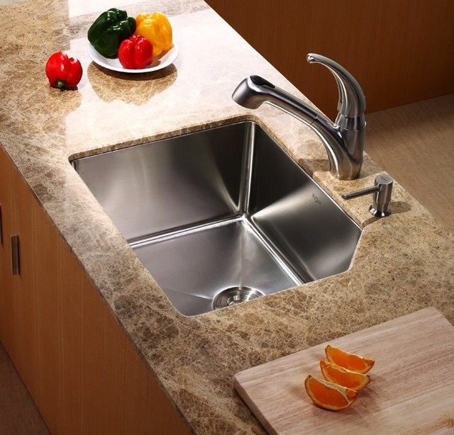 Kraus 23 Inch Undermount Single Bowl Stainless Steel Kitchen Sink ...