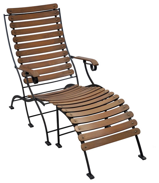 Toscana iron and teak folding lounge chair ottoman