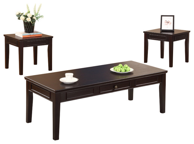 Cocktail and 2 end tables espresso finish 3 piece set traditional coffee table sets by Traditional coffee tables and end tables
