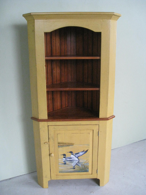 Reclaimed Wood Corner Cabinet with Duck Painting - Farmhouse - Boston - by LakeandMountainHome