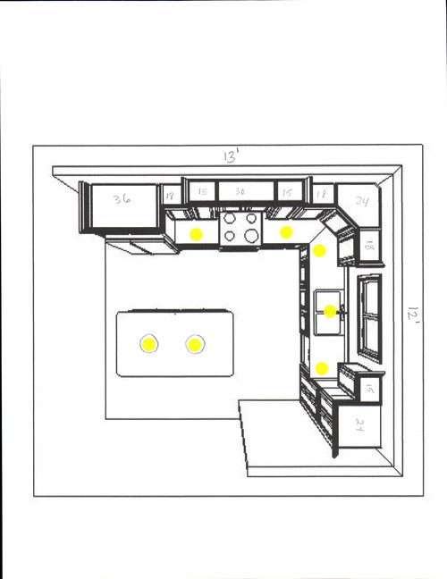 Kitchen recessed lighting layout for Kitchen lighting plan