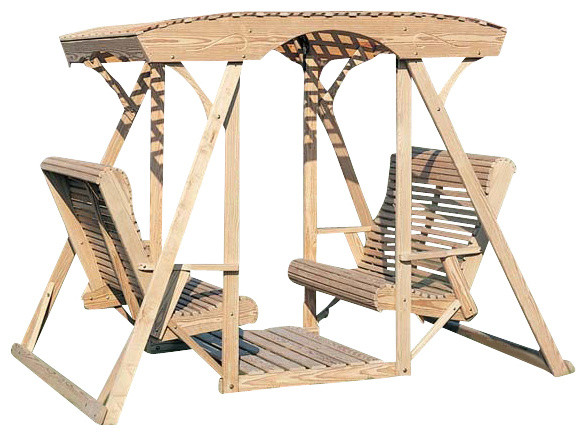 Treated pine dutchman face to face swing farmhouse for Farmhouse porch swing