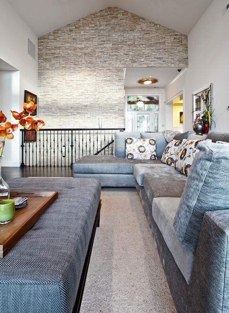 Kirkland custom living room with stone accent wall - Stone accent wall living room ...