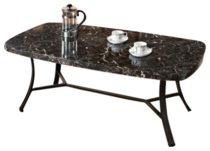 Daisy 3 Piece Pack Black Faux Marble Top Coffee And End Table Set With Black Met Contemporary