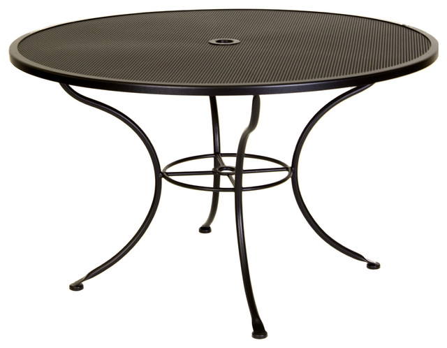 "Micro Mesh 48"" Round Dining Table with 2"" Umbrella Hole Eclectic"