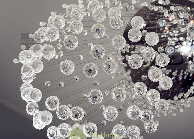 Ball Lighting Fixture Modern Chandelier Raindrop Crystal Light
