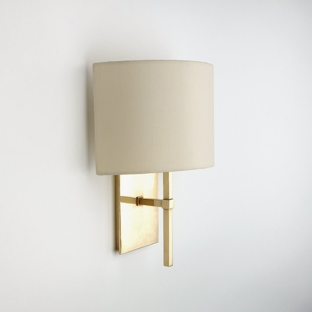 All Modern Wall Sconces : Spence Wall Mounted Single Arm Sconce With Fabric Half Shade - Modern - Wall Sconces - by Waterworks