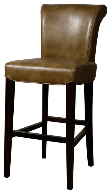 Bentley Bonded Leather Bar Stool Molasses Transitional