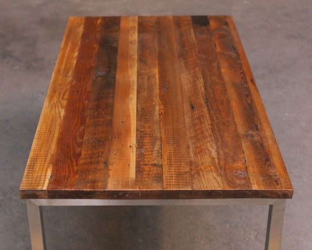 Reclaimed Wood Table With Stainless Reclaimed Wood Table With Stainless  Steel Base Rustic Dining Tables Chicago