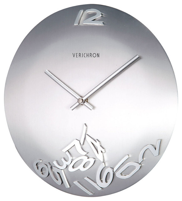 Silver metal wall clock with moveable numbers modern for Silver wall clocks modern