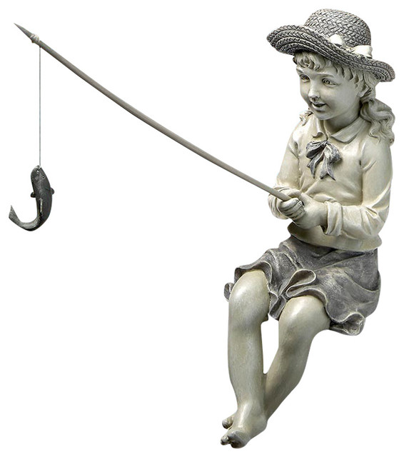 Nellie's Big Catch Fisherwoman Statue traditional-garden-statues-and ...