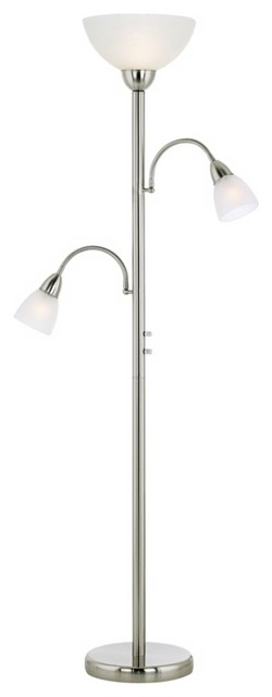 Brushed steel gooseneck torchiere floor lamp for Contemporary torchiere floor lamps